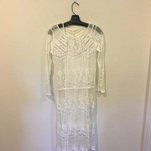 Free People white lace overlay dress